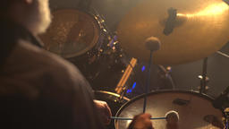 Drummer plays drums (close-up) Footage