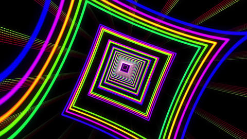 VJ Colorful Dancing Neon Light Tunnel Stock Video Footage