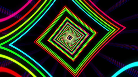 VJ Colorful Dancing Neon Light Tunnel Animation