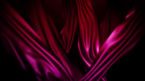 Red Silk Fabric Flying Wave Cloth Animation Background Backdrop Animation