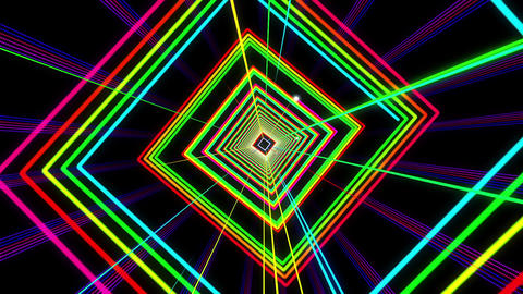 VJ Colorful Dancing Neon Light Tunnel Loop CG動画