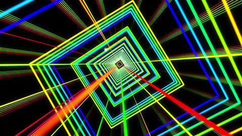 VJ Colorful Dancing Neon Light Tunnel Loop Stock Video Footage