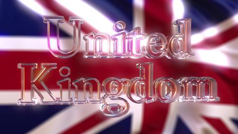 Rotating glass United Kingdom caption against waving British flag. Loopable Footage