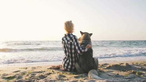 Young female playingwith siberian husky dog on the beach at sunrise Footage