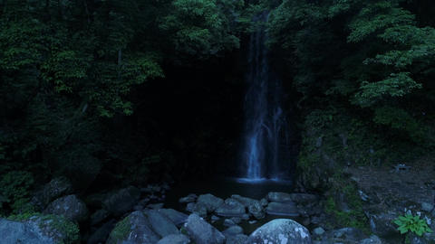 Dark waterfall shot in the drone Footage