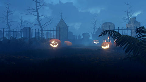 Halloween pumpkins at scary night graveyard Animation