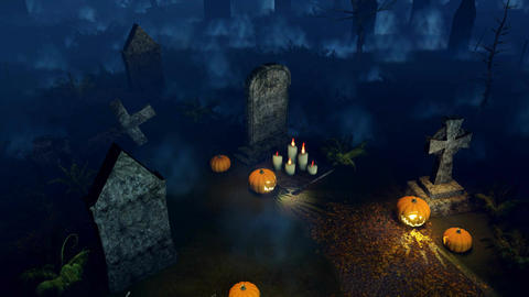 Scary night cemetery with halloween pumpkins Animation