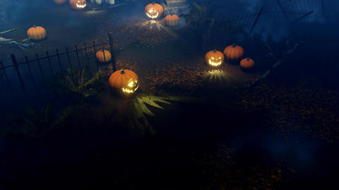 Halloween pumpkins at scary night cemetery top view Animation