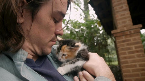 Handsome man holding a baby calico cat close to his face gently petting her Footage