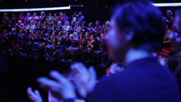 The audience clapping on the record a talk show in TV Studio Footage