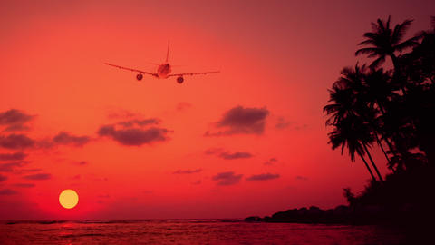 Airplane Flying Over Amazing Sunset Landscape With Tropical Island. Thailand stock footage