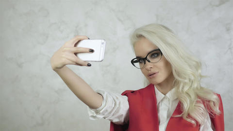 Portrait of Beautiful Young Woman Making Selfie Live Action