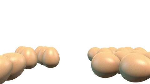 3D Falling Eggs in White Background Footage