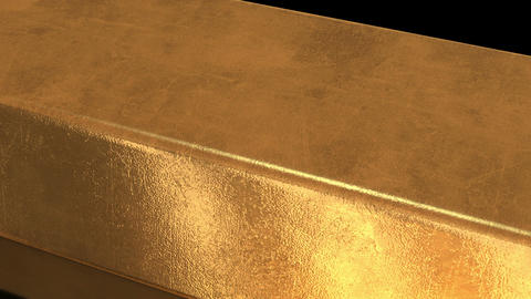 3D Gold Bar Macro in Black Background Footage