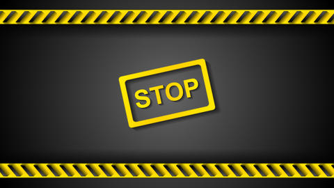 Stop Sign And Danger Tape Video Animation stock footage