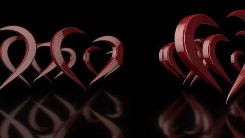 3D Stylized Rotating Love Hearts in Black Background Footage