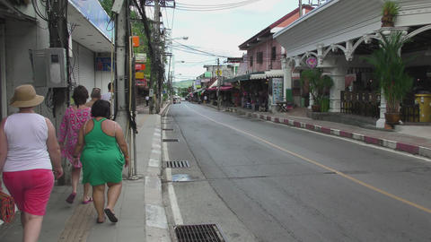 Tourists on streets of Phuket Footage