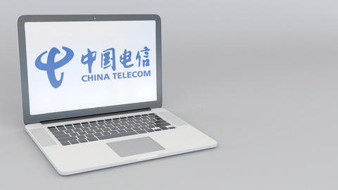 Rotating opening and closing laptop with China Telecom logo. Computer technology Footage
