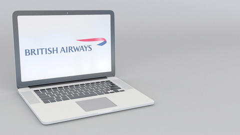 Rotating opening and closing laptop with British Airways logo. Computer Footage