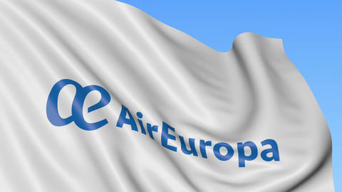 Waving flag of Air Europa against blue sky background, seamless loop. Editorial Live Action