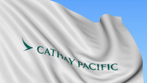 Waving flag of Cathay Pacific against blue sky background, seamless loop Footage