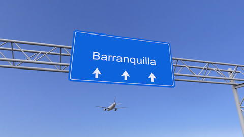 Commercial airplane arriving to Barranquilla airport. Travelling to Colombia フォト