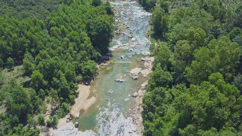 Drone Moves to Mountain River with Rocks between Jungle Live Action