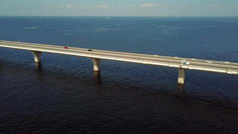 Tracking shot of overseas highway from above Footage