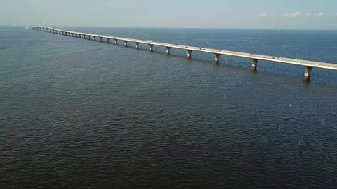 overseas highway tracking shot from above Footage