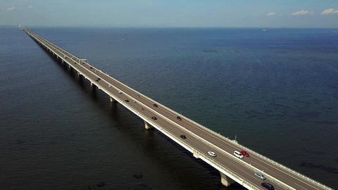 Aerial fixed shot of overseas highway Live Action