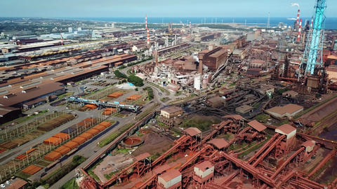 Aerial shot of iron factory Live Action