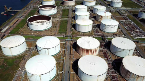 Aerial shot of oil tanks Live Action