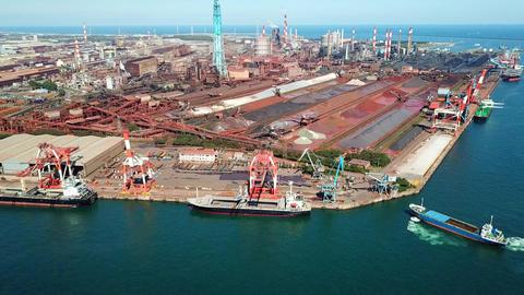 Aerial shot of steel factory ライブ動画