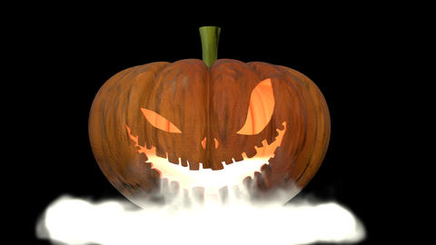 Jack O'lantern with smoke coming out of its mouth Footage