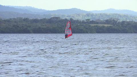 Kitesurfing in a river 画像
