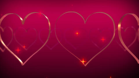 Heart glitter stars particle rotating loop pink 4k wedding Animation