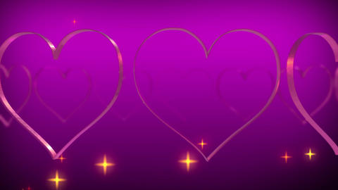 Heart glitter stars particle rotating loop purple background glowing Animation