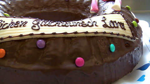 german bakery dolly around birthday cake close 10742 Stock Video Footage