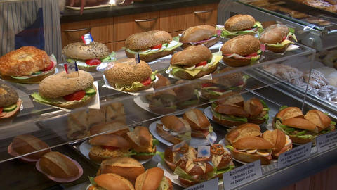 german bakery fresh sanwiches on counter 10744 Stock Video Footage