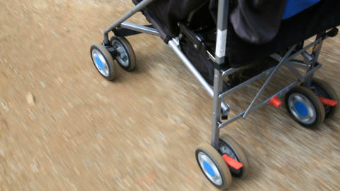 walking with the stroller Stock Video Footage