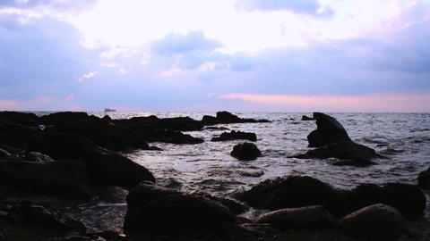Coast in the evening Stock Video Footage