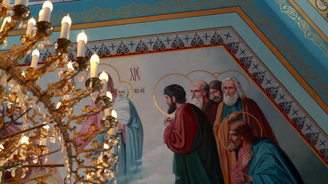 The painted ceiling in the Orthodox Church Stock Video Footage