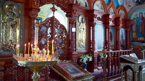 The orthodox church chancel Stock Video Footage
