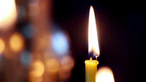 Wax candles in the orthodox church Stock Video Footage