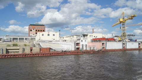 View of city Blagoveshchensk from Amur River Stock Video Footage
