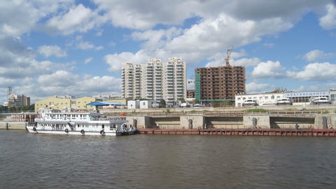 View of city Blagoveshchensk from Amur River Footage