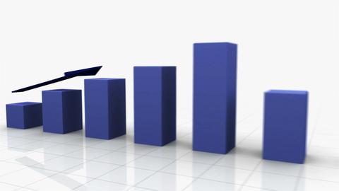 3D Growing Business Chart w. Arrow Stock Video Footage