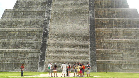 Chichen Itza Mexico Yucatan Kukulcan Pyramid handheld 04 Stock Video Footage