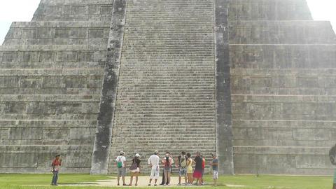 Chichen Itza Mexico Yucatan Kukulcan Pyramid handheld 04 Stock Video Footage