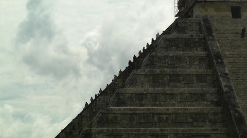 Chichen Itza Mexico Yucatan 10 Kukulcan Pyramid handheld Stock Video Footage
